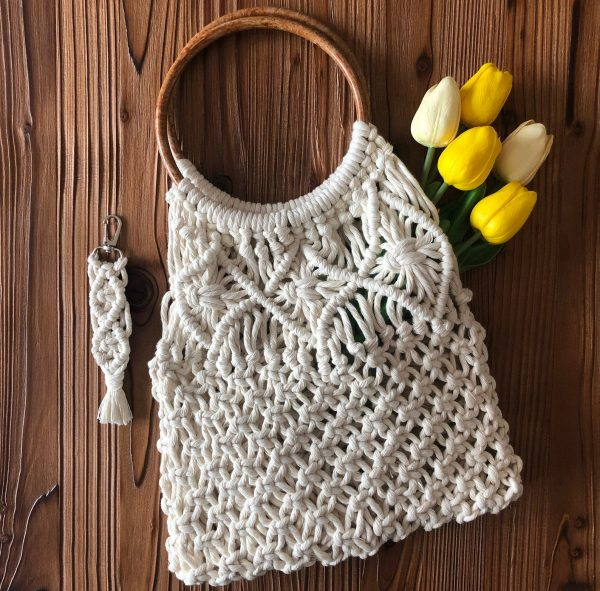 Túi xách macrame XM04 - Macrame bag Vietnam là mẫu giỏ xách thời trang kèm vai túi xách hợp thời trang