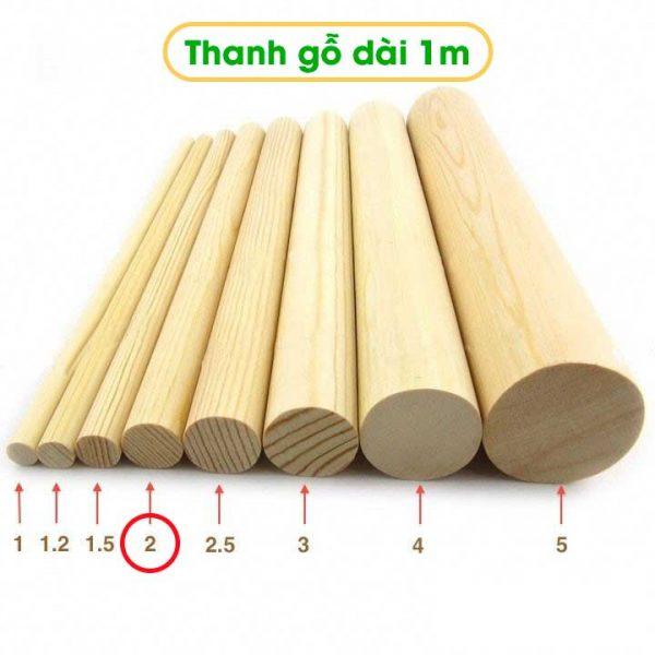 Mua thanh gỗ tròn dài 1m đường kính 2cm tại Tphcm
