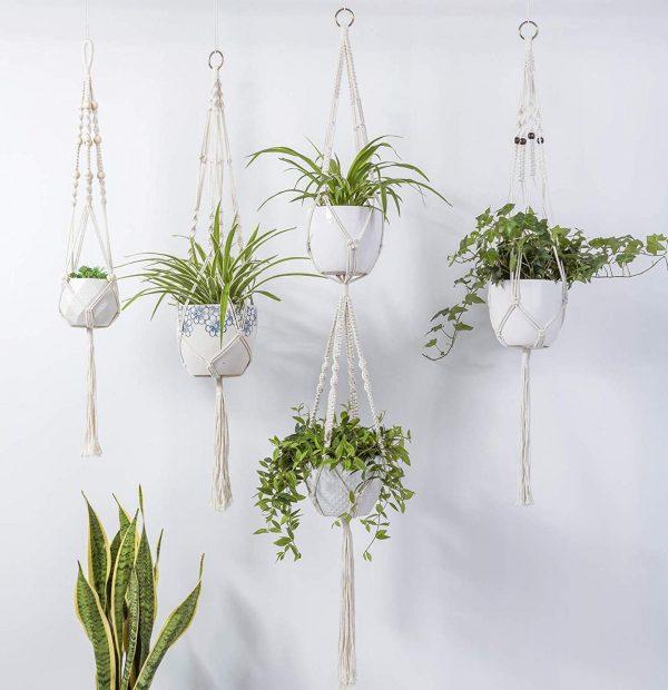 Combo 4 giỏ chậu treo cây macrame GM06 là bộ kết hợp 4 kiểu macrame plant hanging