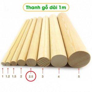 Thanh gỗ tròn dài 1m đường kính 2.5cm