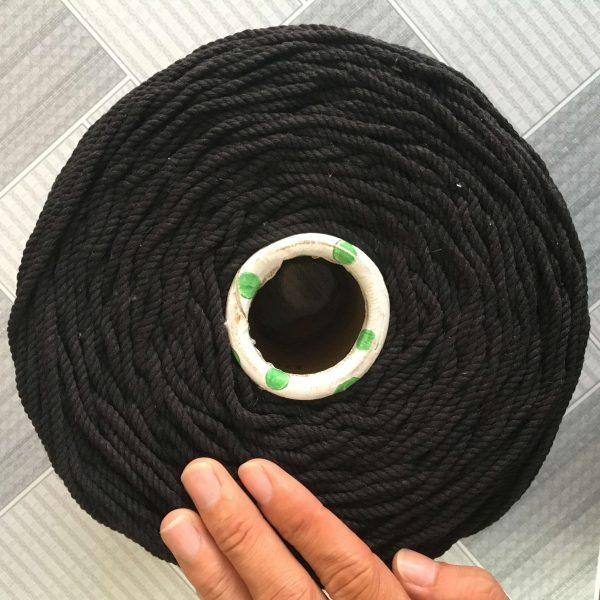 Dây macrame 3mm xoắn đen làm túi xách