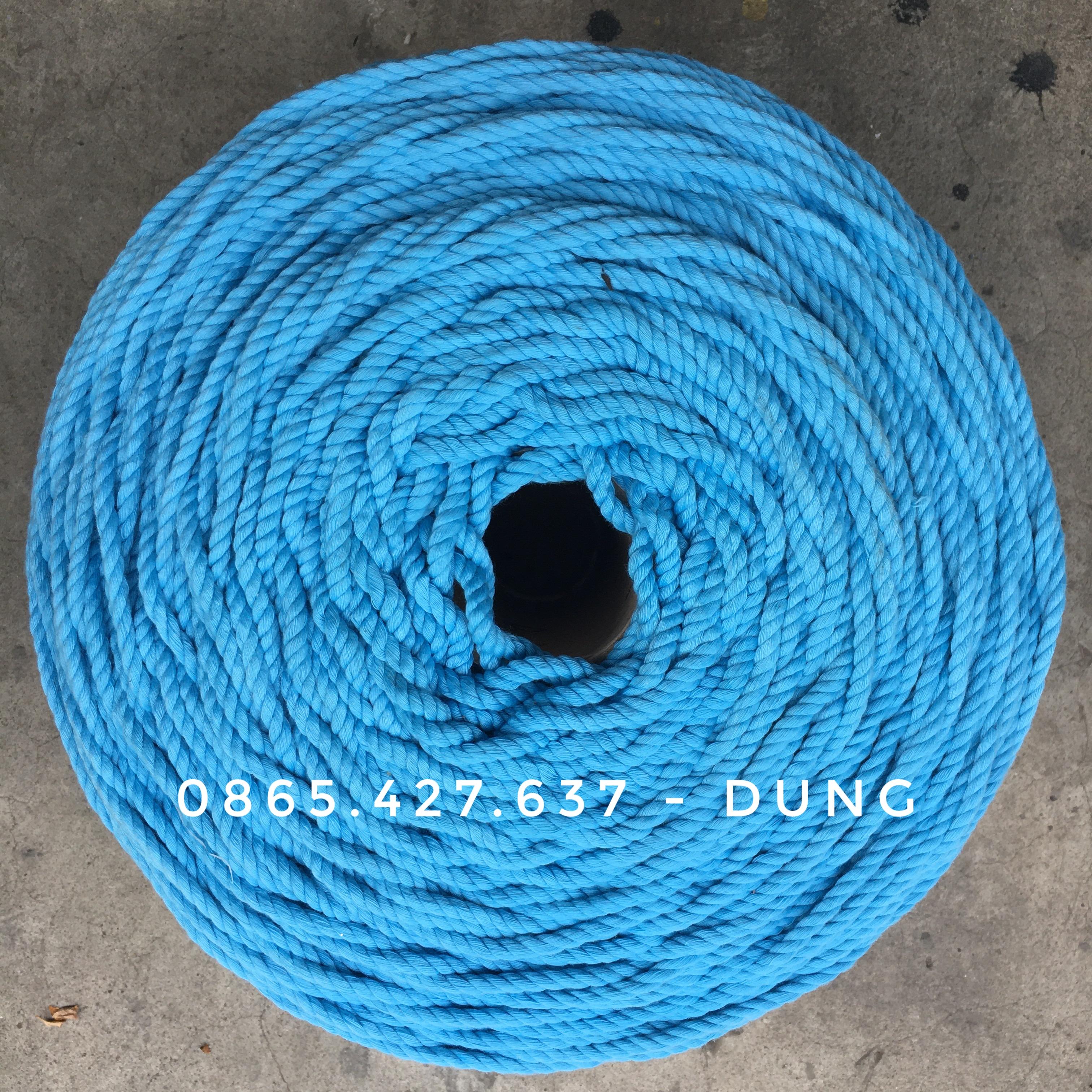 Dây macrame cotton màu xanh da trời 5mm