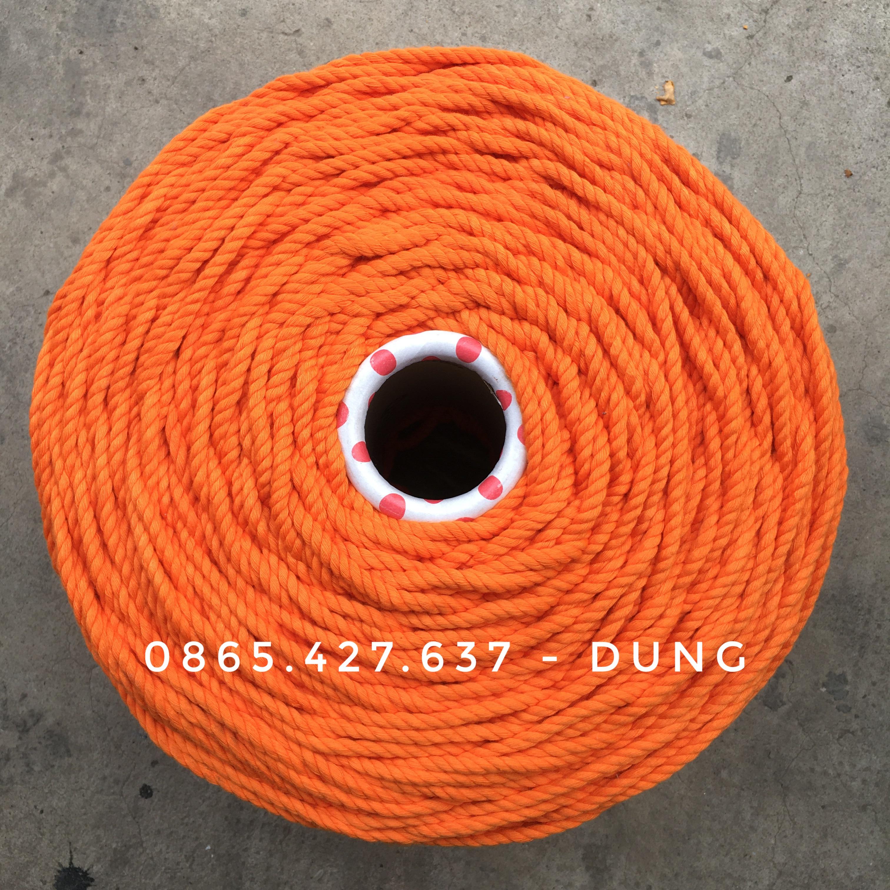 Dây macrame màu cam 5mm xoắn