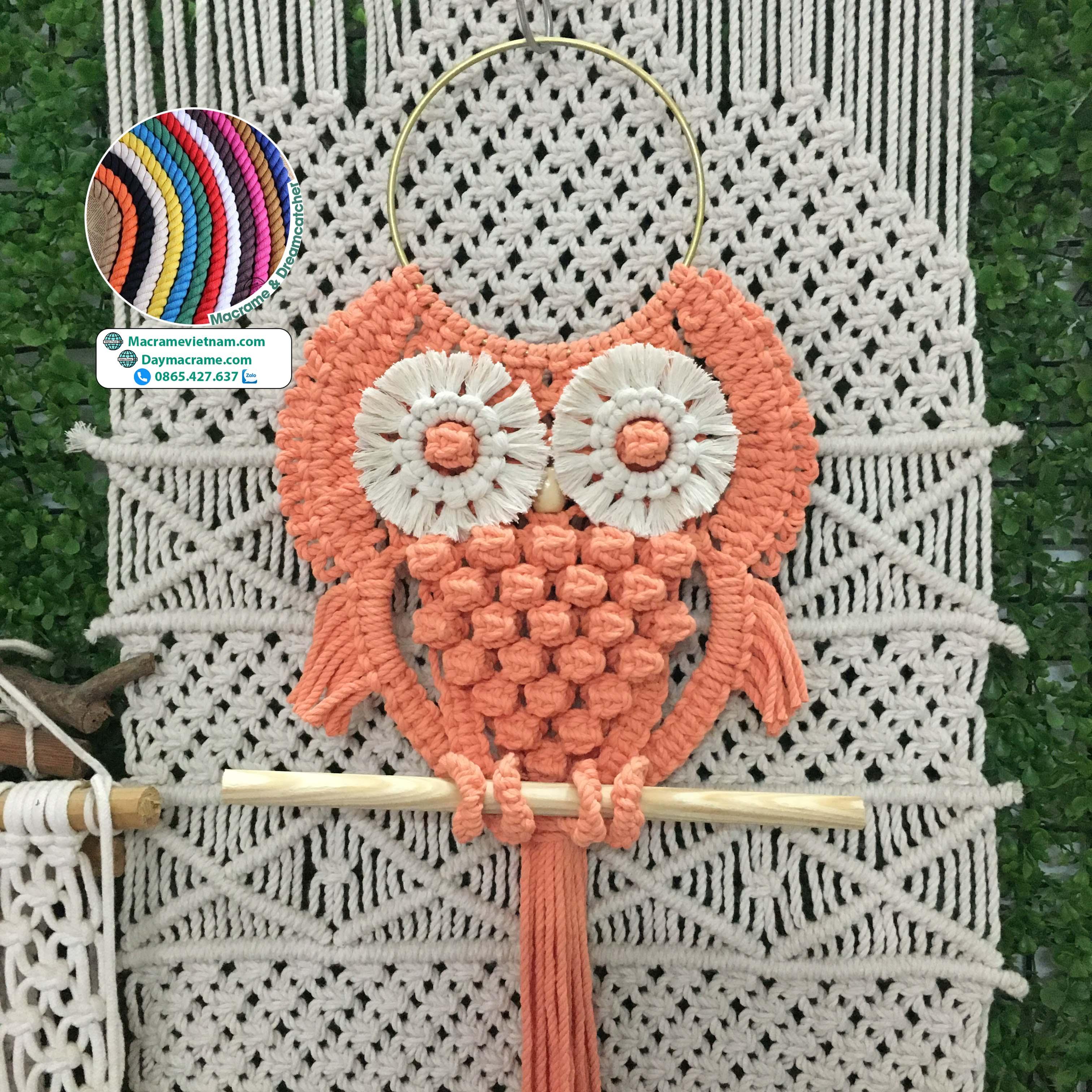 Cú macrame owl màu cam kích thước 20cmx50cm