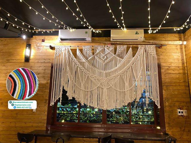 Rèm macrame trang trí decor quán cà phê 2m4 x 1m4