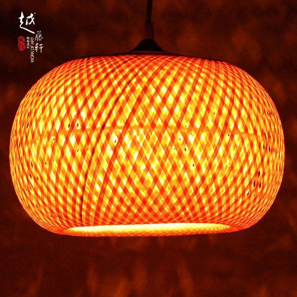 Đèn lồng mây tre đan hình quả bí đỏ 2 lớp MT09