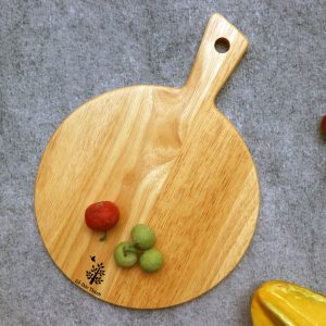 142 - Khay gỗ tròn trang trí: khay gỗ decor có tay cầm đựng bánh pizza 29.5 x 22 x 1.5cm