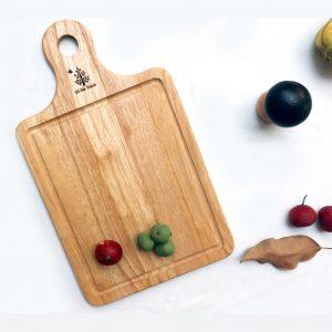 157 - Khay gỗ chữ nhật decor: khay có tay cầm đựng bánh pizza 34 x 20 x 1.2cm