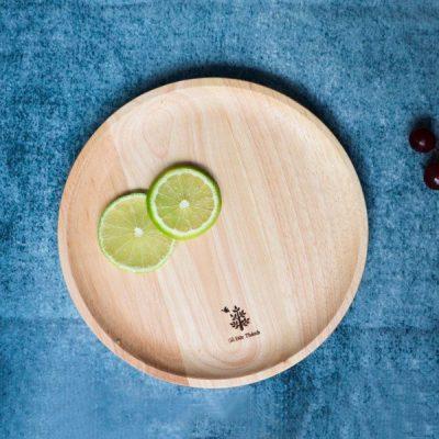 176 - Khay gỗ tròn: đĩa gỗ decor trang trí, chụp ảnh sản phẩm đường kính 26.5cm
