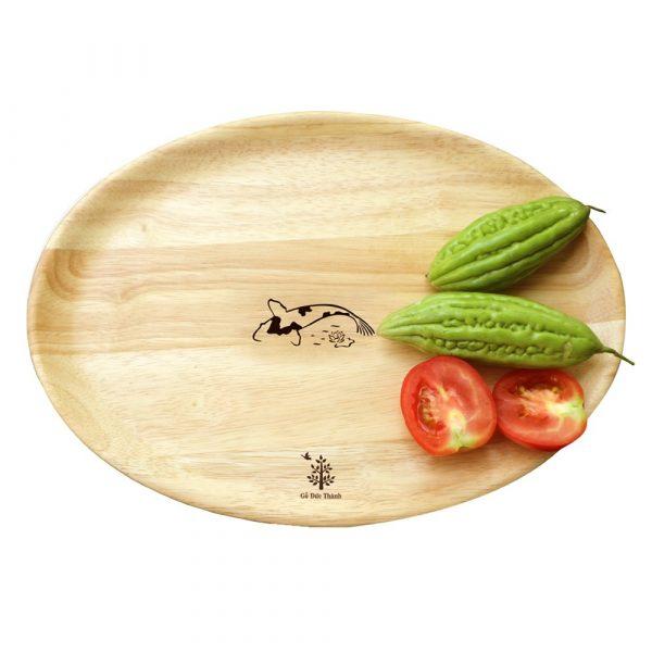 177 - Khay gỗ Oval: đĩa gỗ hạt xoài trang trí, decor chụp ảnh sản phẩm 27 x 18.5 x 2cm