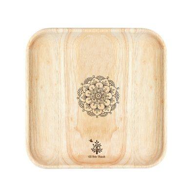Khay gỗ vuông: đĩa gỗ trang trí decor đựng đồ ăn, trái cây, phục vụ quán cà phê