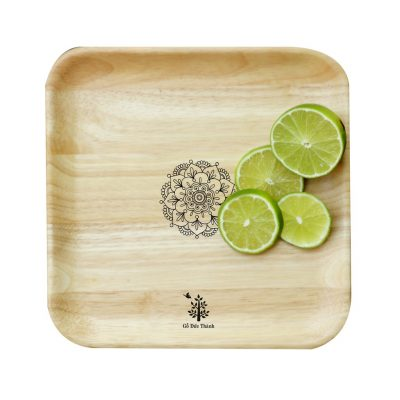 Khay gỗ vuông đẹp: đĩa gỗ trang trí decor đựng đồ ăn, trái cây, phục vụ quán cà phê