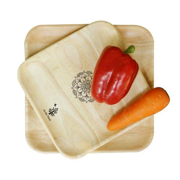 Khay gỗ vuông: đĩa gỗ trang trí decor đựng đồ ăn, trái cây, phục vụ quán cà phê 3 size