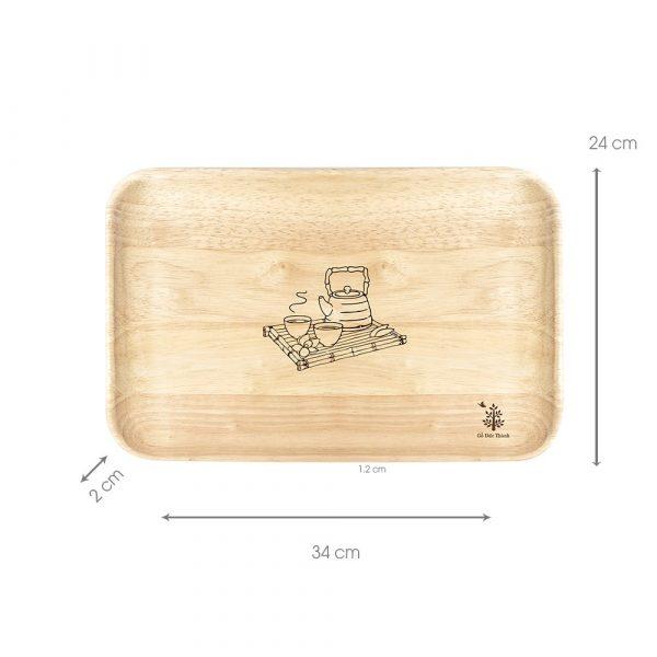 Khay gỗ chữ nhật: đĩa gỗ trang trí decor đựng đồ ăn gằng gỗ đẹp, trái cây, phục vụ nhà hàng 3 size