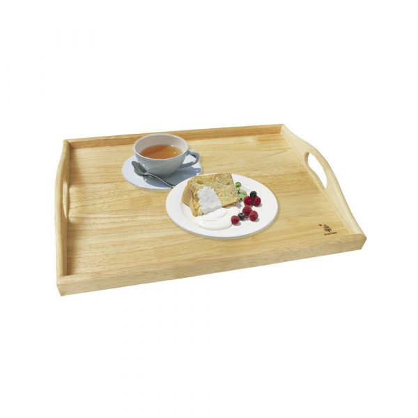 Khay gỗ chữ nhật có quai cầm trang trí decor đựng đồ ăn đẹp, đựng bánh mứt trái cây, phục vụ nhà hàng 2 size