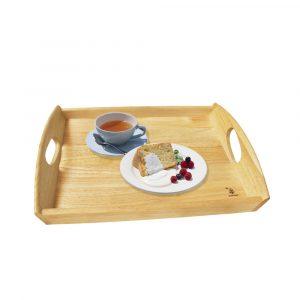 Khay gỗ chữ nhật có quai cầm oval trang trí decor đựng đồ ăn đẹp, đựng bánh mứt trái cây, phục vụ nhà hàng