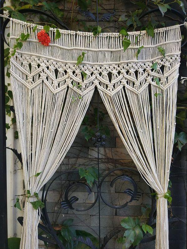 Thảm treo tường RISEON Macrame- Treo cửa Macrame, Ngăn phòng, Rèm Macrame, Rèm cửa sổ, Rèm cửa, Phông nền đám cưới Trang trí