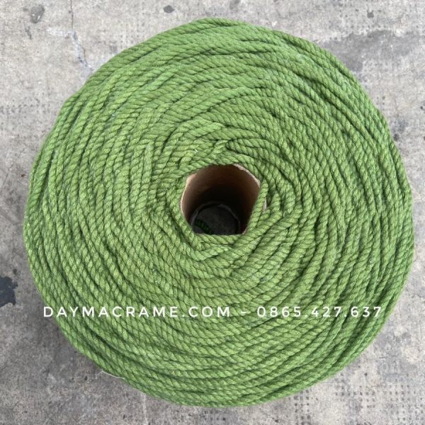 Dây thừng macrame xanh rêu màu 3mm, 5mm - Full Color, Đủ Size