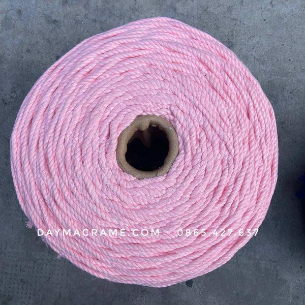 Dây macrame 3mm xoắn màu hồng vỏ đậu chất liệu cotton
